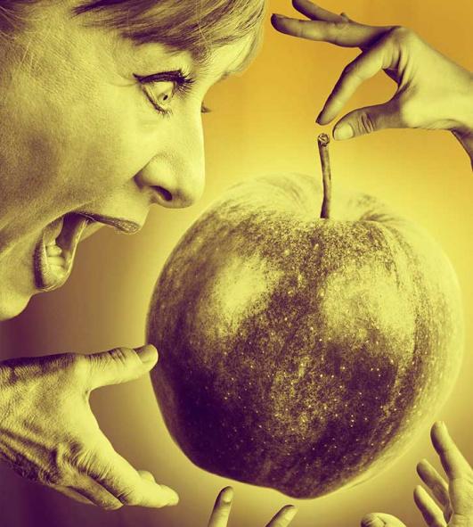Äppelkriget. Kvinna biter i ett äpple.