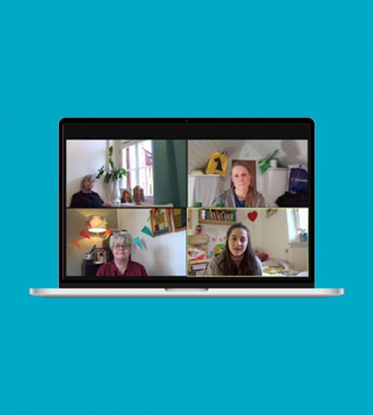 Trädgårdsgatan. Fyra skådespelare på zoom i en dator